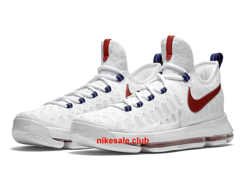 Chaussures De BasketBall Nike KD 9 USA Prix Pas Cher Pour Homme BlancRougeBleu 843392_160 Les Nike Magasins Discount D´usine,Nike BasketBall Pas